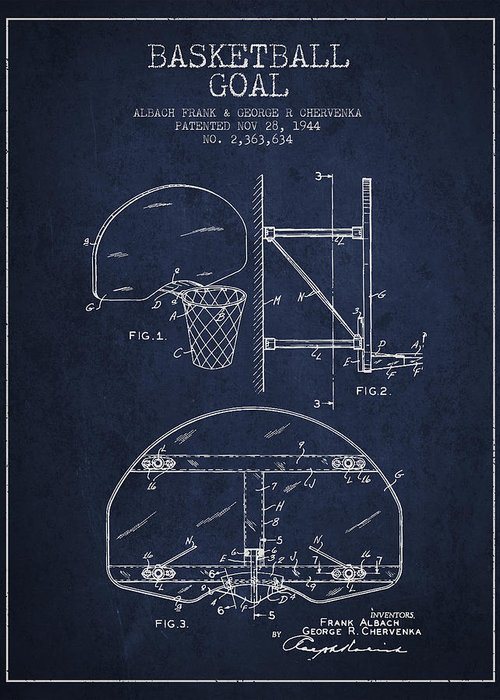 Hoop Patent Greeting Card featuring the digital art Vintage Basketball Goal Patent From 1944 by Aged Pixel