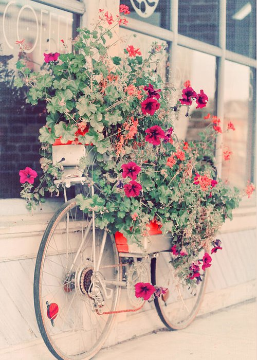 Bicycle Greeting Card featuring the photograph Vintage Bicycle Flowers Photograph by Elle Moss