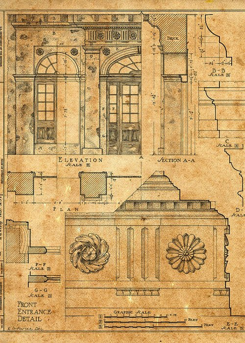 Architectural Blueprints For Sale | Vintage Blueprints 14 Greeting Card For Sale By Andrew Fare