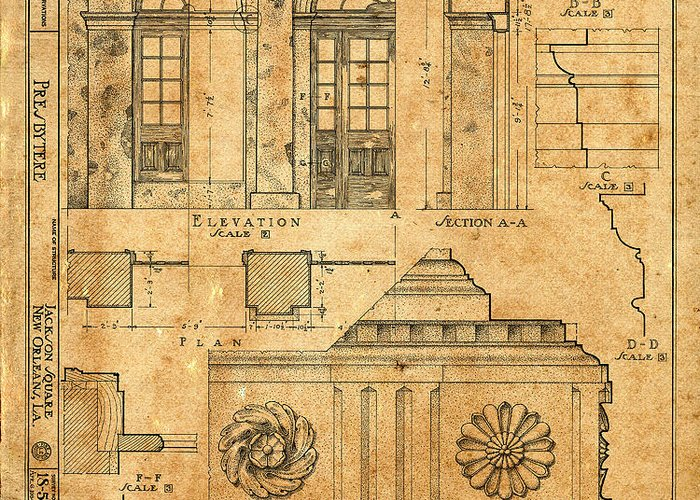 Vintage Blueprints 14 Greeting Card for Sale by Andrew Fare