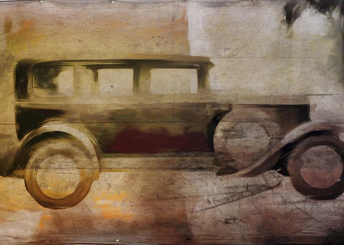 Vintage Greeting Card featuring the digital art Vintage Buick by David Ridley