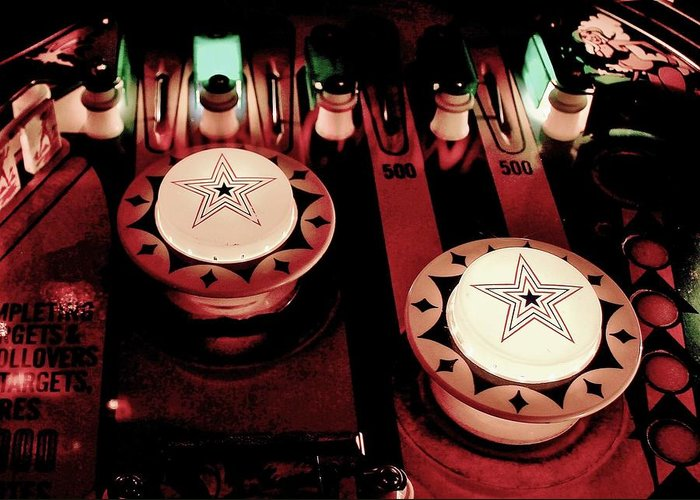 Pinball Greeting Card featuring the photograph Vintage Bumpers by Benjamin Yeager