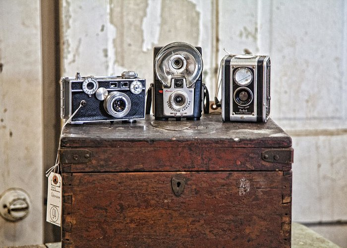Cameras Greeting Card featuring the photograph Vintage Cameras At Warehouse 54 by Toni Hopper