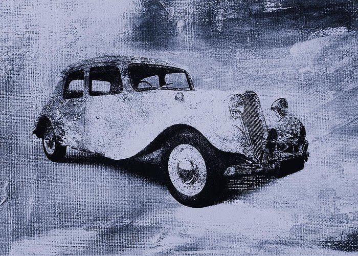 Vintage Greeting Card featuring the digital art Vintage Car by David Ridley