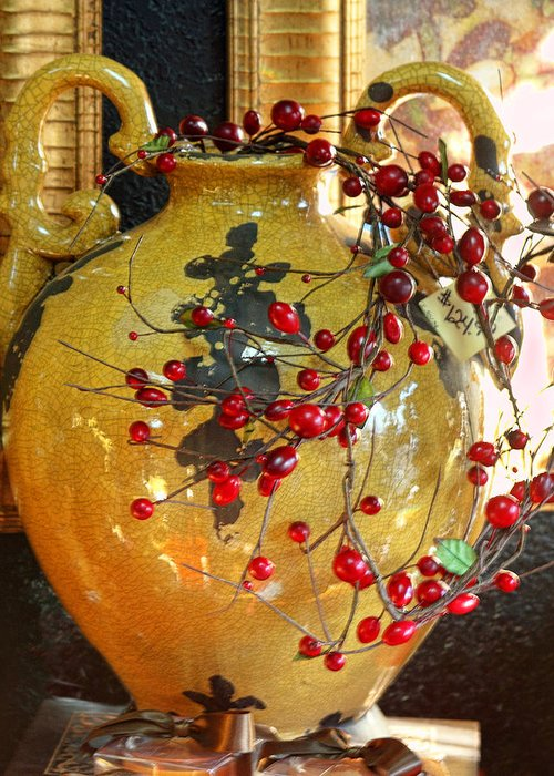 Vintage Greeting Card featuring the photograph Vintage Ceramic Urn by Linda Phelps