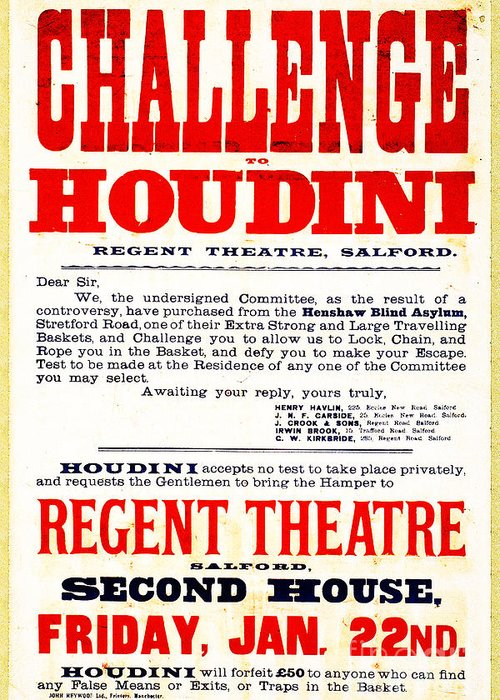Houdini Greeting Card featuring the photograph Vintage Challenge Houdini Poster by Wingsdomain Art and Photography
