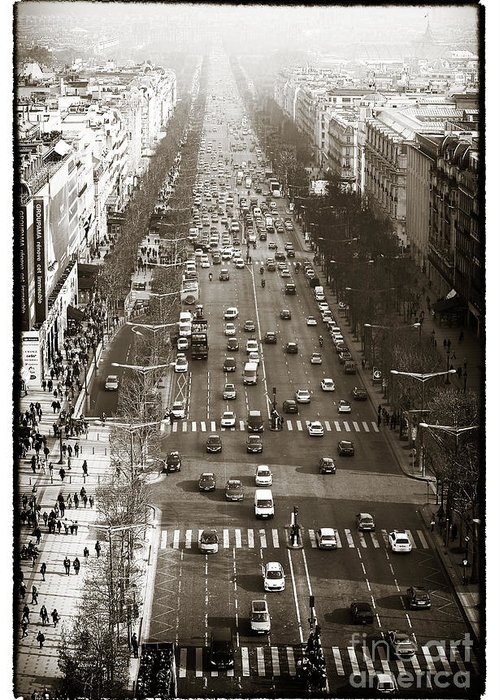 Vintage Champs Elysees Greeting Card featuring the photograph Vintage Champs Elysees by John Rizzuto