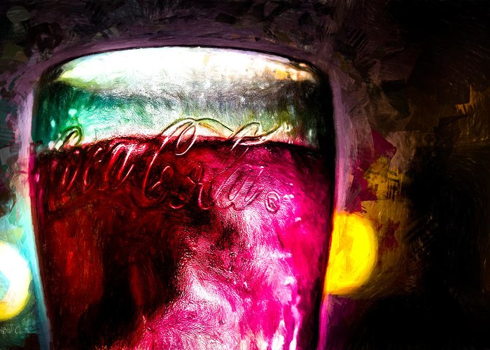 Coke Greeting Card featuring the painting Vintage Coca Cola Glass With Ice by Bob Orsillo