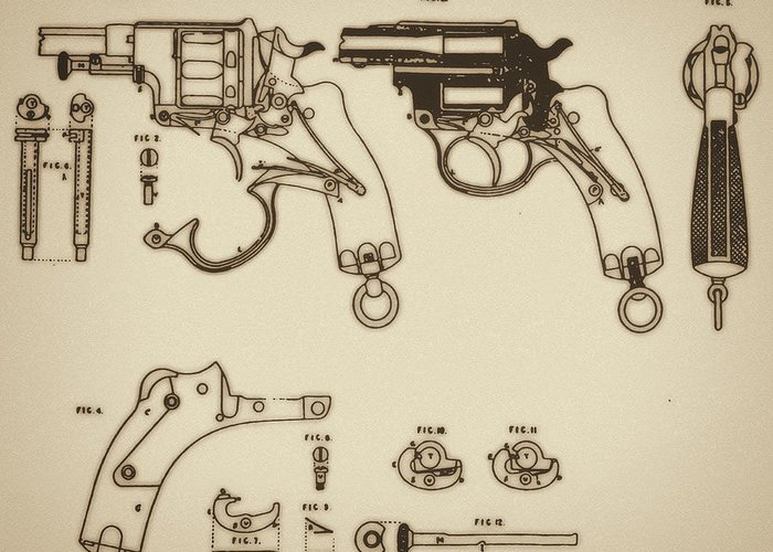 Ammunition Greeting Card featuring the mixed media Vintage Colt Revolver Drawing by Nenad Cerovic