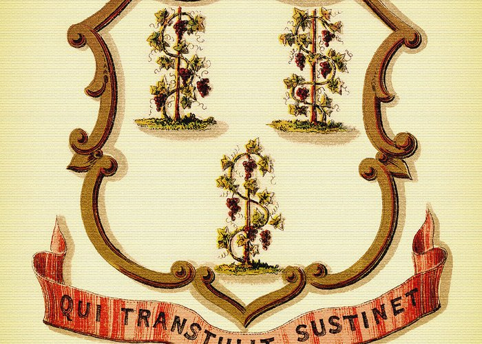 Lithograph Greeting Card featuring the photograph Vintage Connecticut Coat Of Arms - 1876 by Mountain Dreams