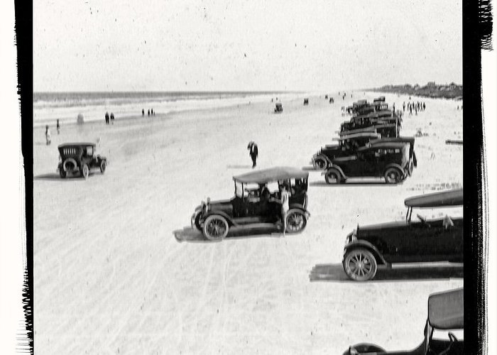 Vintage Greeting Card featuring the photograph Vintage Daytona Beach Florida by Edward Fielding
