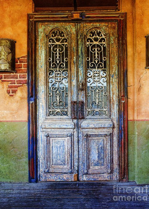 Vintage Door In Hico Greeting Card featuring the photograph vintage door in Hico TX by Elena Nosyreva