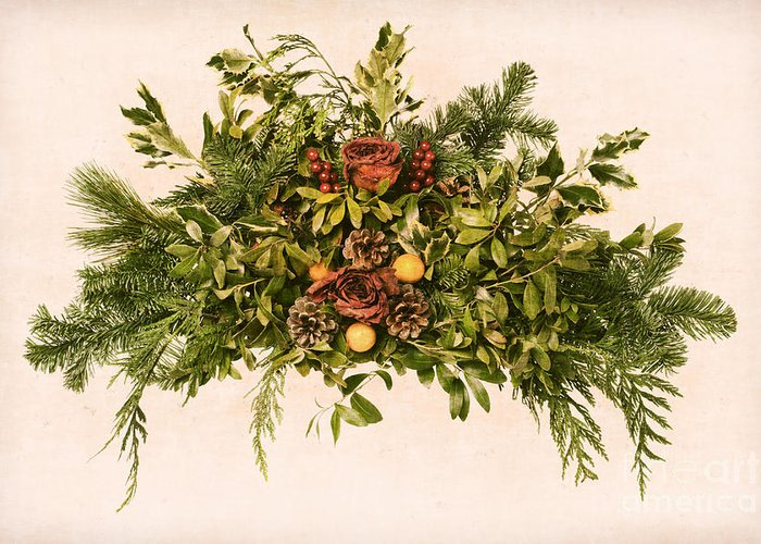 Wreath Greeting Card featuring the photograph Vintage Floral Arrangement by Olivier Le Queinec