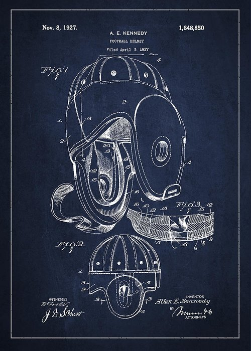 Football Greeting Card featuring the drawing Vintage Football Helment Patent Drawing From 1927 by Aged Pixel