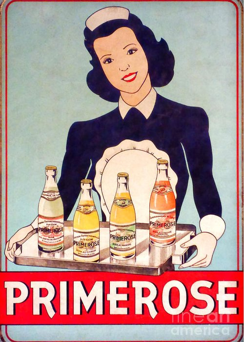 Tin Sign Greeting Card featuring the photograph Vintage French Tin Sign Primerose by Olivier Le Queinec