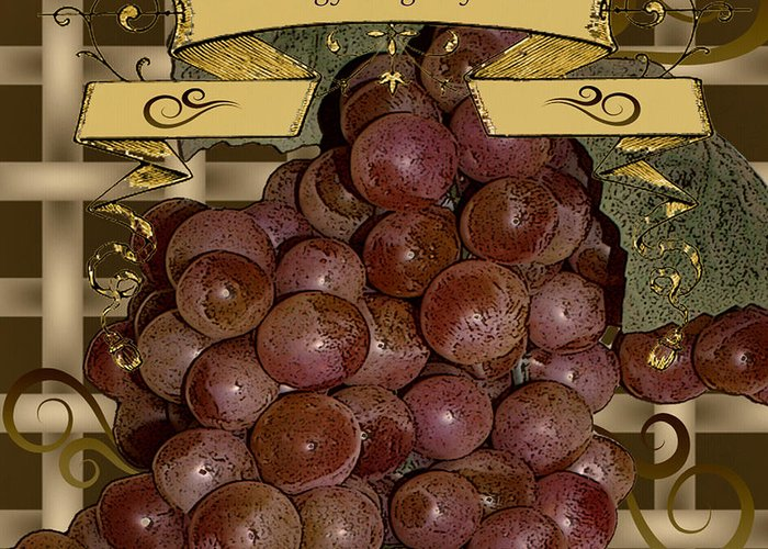 Grapes Greeting Card featuring the digital art Vintage Fruit Of The Vine by TnBackroadsPhotos