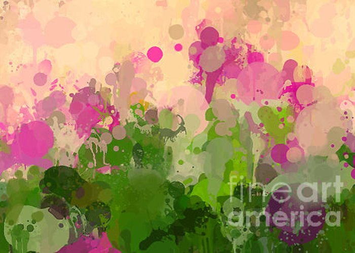 Gouache Greeting Card featuring the digital art Vintage Green And Purple Brush Strokes by Shekaka