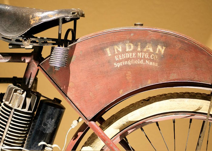 Indian Bike Greeting Card featuring the photograph Vintage Indian Bike by Beach Bum Chix