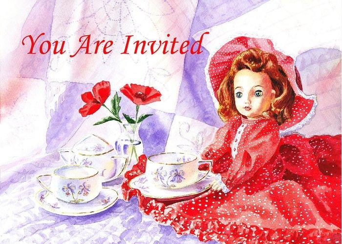 Invitation Greeting Card featuring the painting Vintage Invitation by Irina Sztukowski
