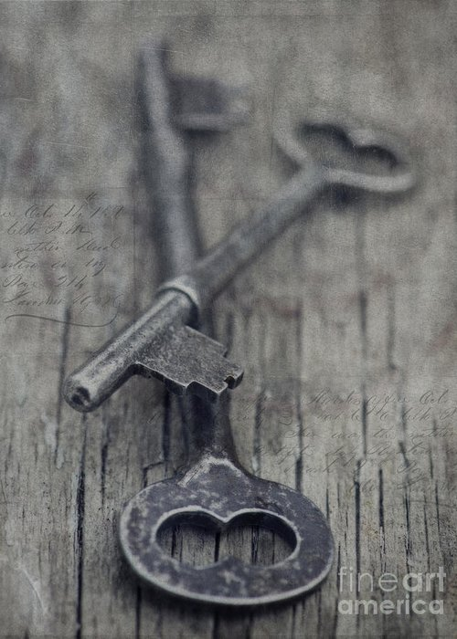 Keys Greeting Card featuring the photograph Vintage Keys by Priska Wettstein