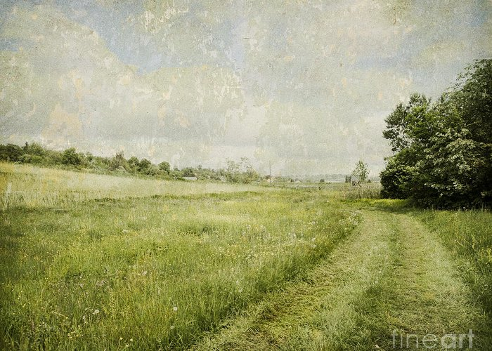 Landscape Greeting Card featuring the digital art Vintage Landscape by Jelena Jovanovic