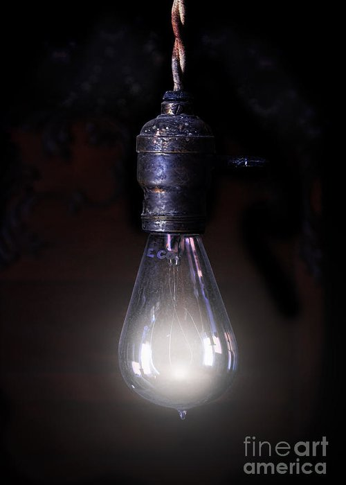 Light Greeting Card featuring the photograph Vintage Lightbulb by Jill Battaglia