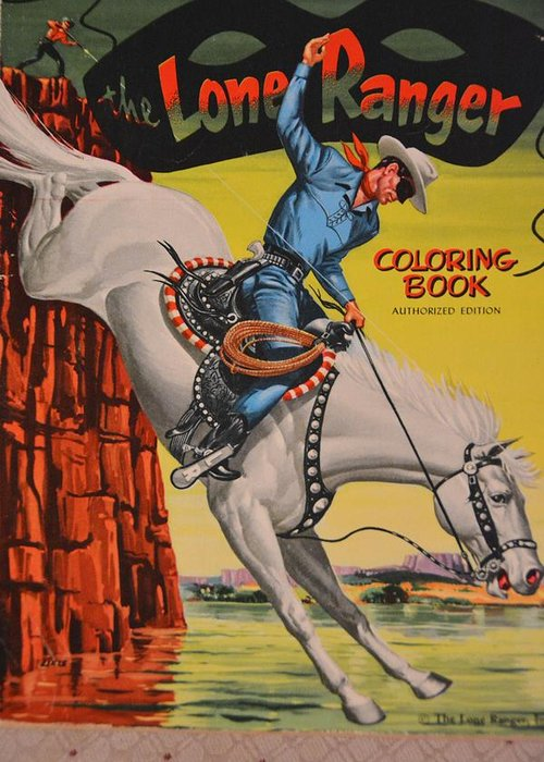 Old Greeting Card Featuring The Photograph Vintage Lone Ranger Coloring Book By Richard Jenkins
