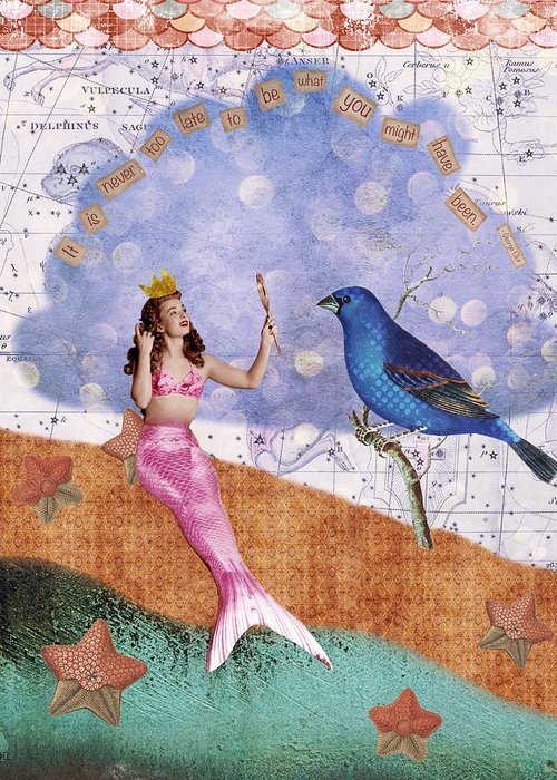 Vintage Collage Greeting Card featuring the digital art Vintage Mermaid Bird Collage by Cat Whipple