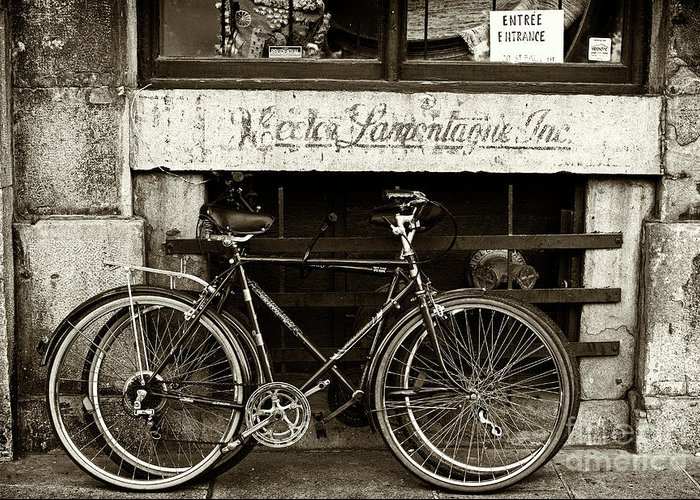 Vintage Montreal Bikes Greeting Card featuring the photograph Vintage Montreal Bikes by John Rizzuto