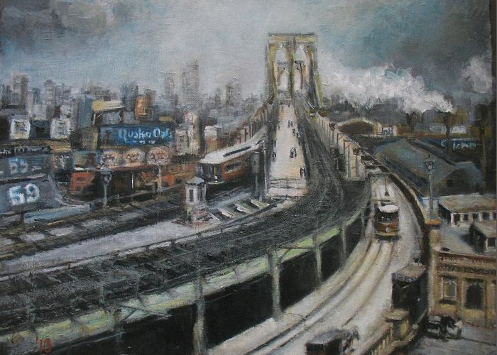 Vintage Greeting Card featuring the painting Vintage New York City Brooklyn Bridge by C- Nwh