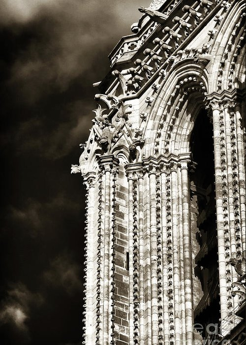Vintage Notre Dame Details Greeting Card featuring the photograph Vintage Notre Dame Details by John Rizzuto