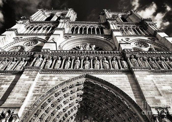 Vintage Notre Dame Greeting Card featuring the photograph Vintage Notre Dame by John Rizzuto