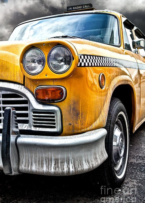 Vintage Nyc Cab Greeting Card featuring the photograph Vintage Nyc Taxi by John Farnan