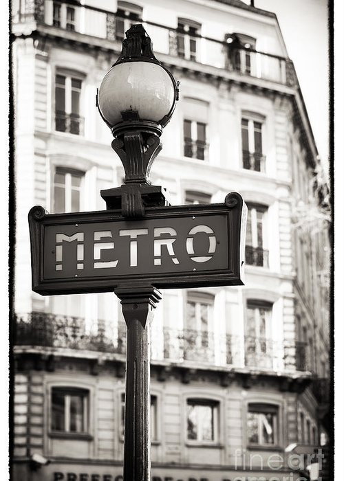 Vintage Paris Metro Greeting Card featuring the photograph Vintage Paris Metro by John Rizzuto
