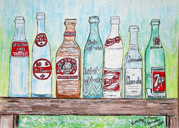 Vintage Greeting Card featuring the painting Vintage Pop Bottles by Kathy Marrs Chandler