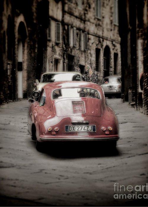 Vintage Greeting Card featuring the photograph Vintage Porsche by Karen Lewis