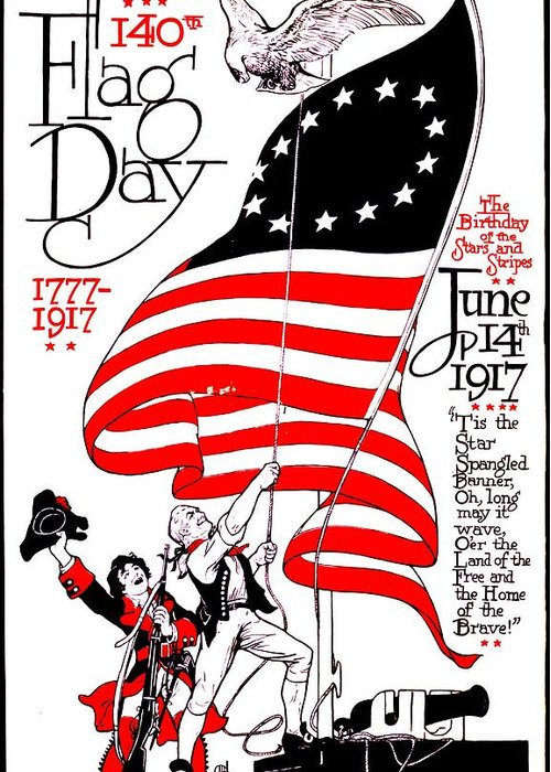 Poster Greeting Card featuring the photograph Vintage Poster - America - Flag Day 1917 by Benjamin Yeager