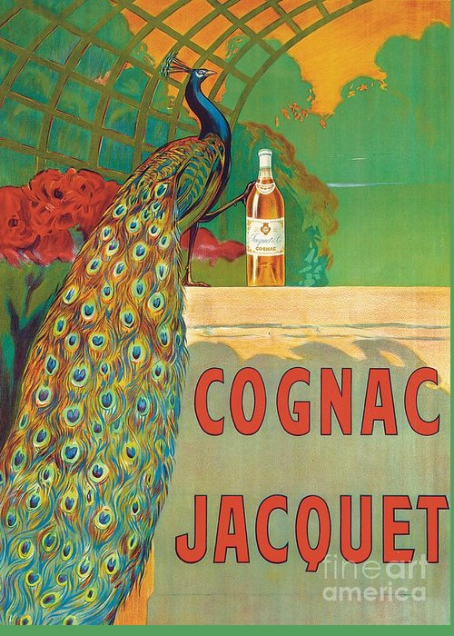 Bird Greeting Card featuring the painting Vintage Poster Advertising Cognac by Camille Bouchet