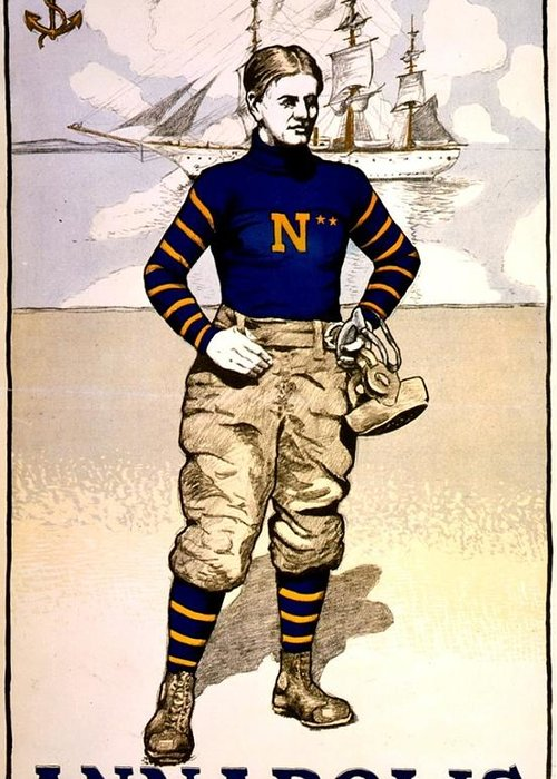 Usna Greeting Card featuring the photograph Vintage Poster - Naval Academy Midshipman by Benjamin Yeager
