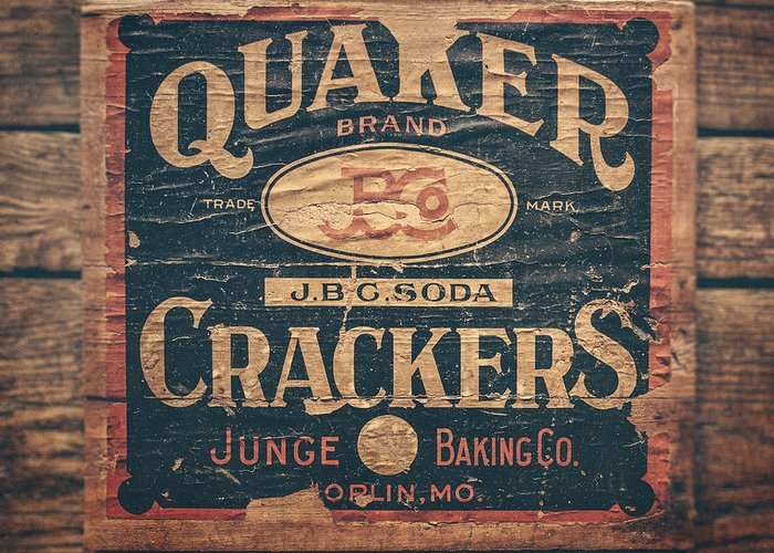 Quaker Crackers Greeting Card featuring the photograph Vintage Quaker Crackers For The Kitchen by Lisa Russo