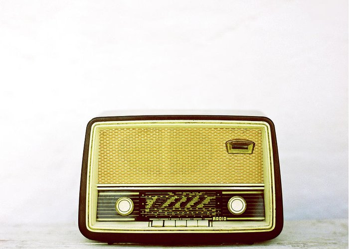 White Background Greeting Card featuring the photograph Vintage Radio by Thanasis Zovoilis