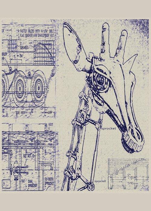 Vintage robot giraffe blueprint greeting card for sale by jane steampunk greeting card featuring the digital art vintage robot giraffe blueprint by jane schnetlage malvernweather Choice Image
