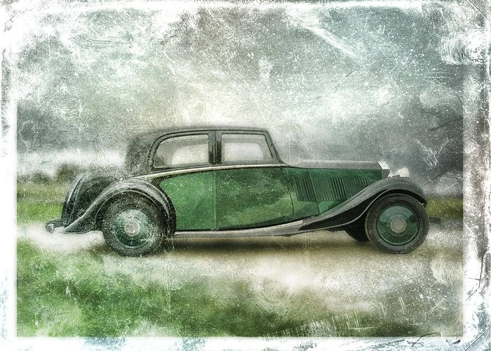 Vintage Greeting Card featuring the digital art Vintage Rolls Royce by David Ridley