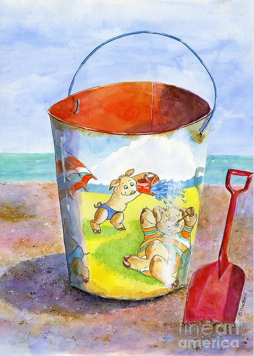 Watercolor Greeting Card featuring the painting Vintage Sand Pail- 3 Pigs At The Beach by Sheryl Heatherly Hawkins