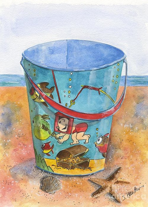 Watercolor Greeting Card featuring the painting Vintage Sand Pail Sweet Pea by Sheryl Heatherly Hawkins