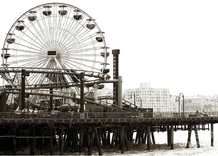 Vintage Santa Monica Pier Greeting Card featuring the photograph Vintage Santa Monica Pier by John Rizzuto