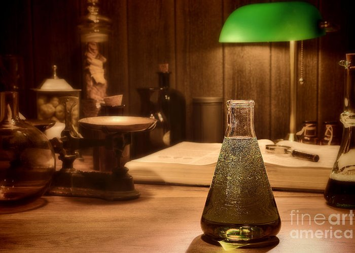 Laboratory Greeting Card featuring the photograph Vintage Science Laboratory by Olivier Le Queinec