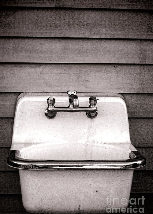 Vintage Greeting Card featuring the photograph Vintage Sink by Olivier Le Queinec