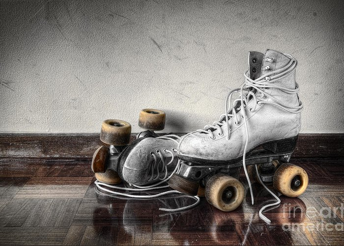 Active Greeting Card featuring the photograph Vintage Skates by Carlos Caetano