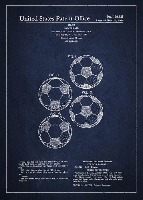 Soccer Greeting Card featuring the digital art Vintage Soccer Ball Patent Drawing From 1964 by Aged Pixel